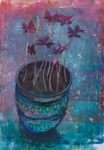 Oxalis in Rimini Blue Pot - Original Painting