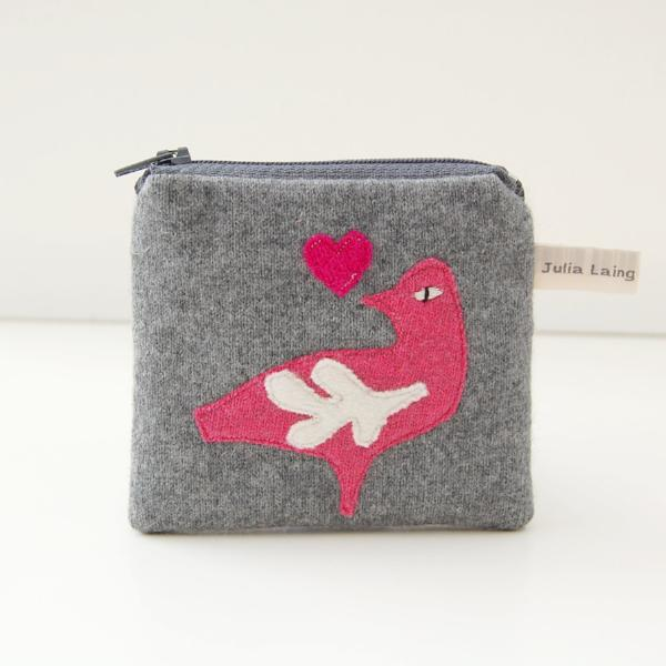 Coin Purse - Folk Art Bird - Grey Cashmere