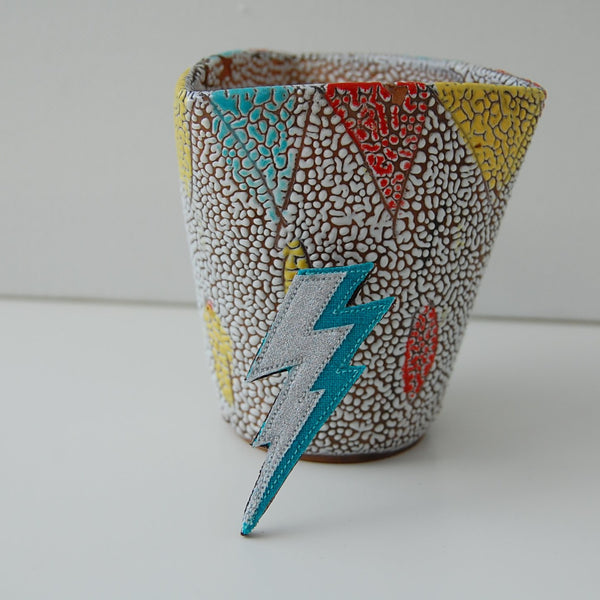 Lightning Bolt Brooch - Blue