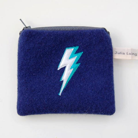 Coin Purse - Lightning Bolt - Navy Blue Wool