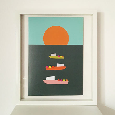 Boats at Sunset - Art Print - A4 Size