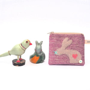 Coin Purse - Pink Chenille, Rabbit Design