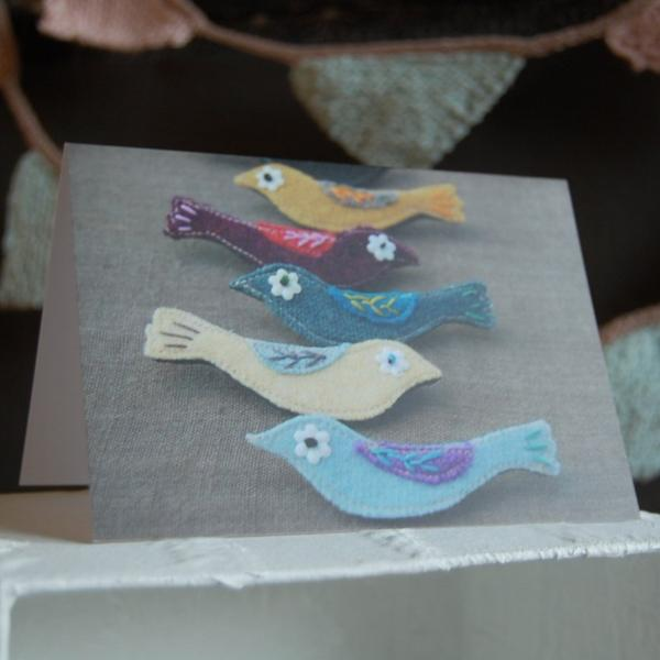 textile birds greetings card - blank inside