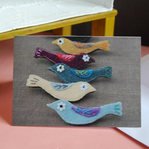 Greetings Card - Textile Birds