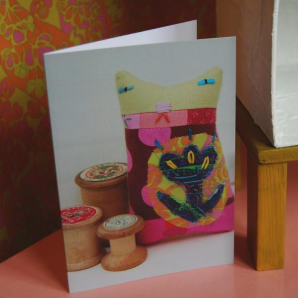 Greetings Card - Textile Cat and Wooden Spools