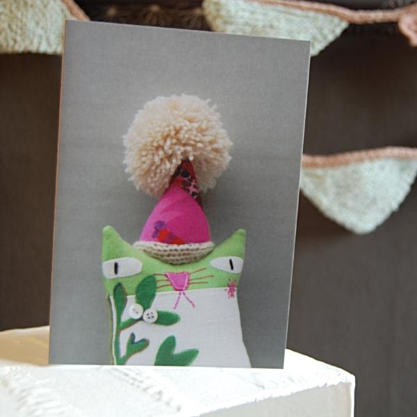 Greetings Card - Textile Cat With Pom Pom Hat