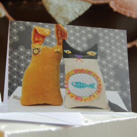 Greetings Card - Textile Rabbit And Cat
