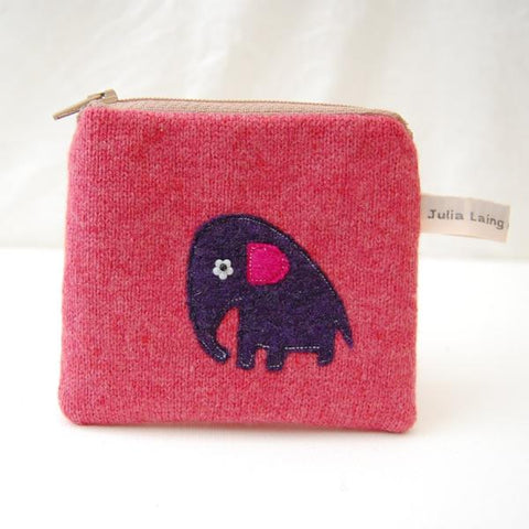 Coin Purse - Baby Elephant - Pink Wool