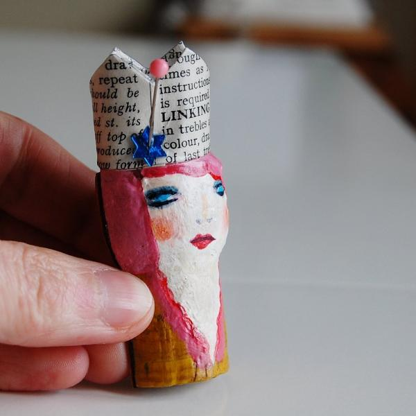 Brooch - Cork Face - Pink Haired Princess