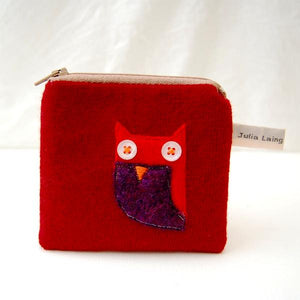 Coin Purse - Owl Design - Red Wool