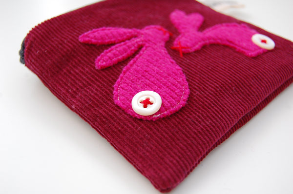 Coin Purse - Two Rabbits, Burgundy Needlecord