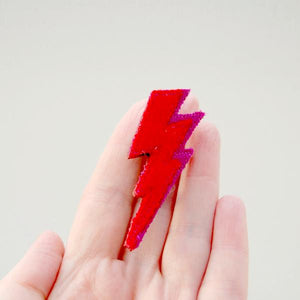 Brooch - Lightning Bolt - Red Wool