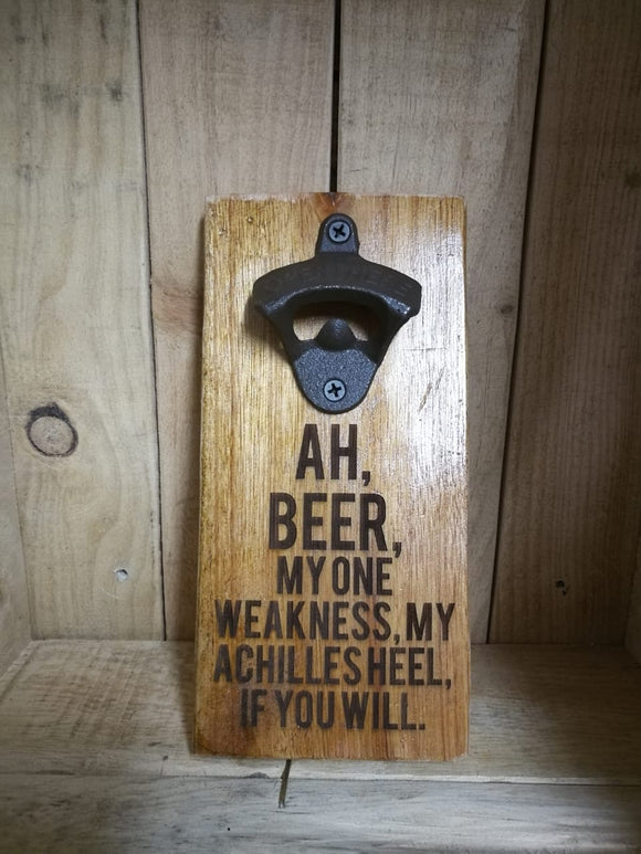 Wall hanging bottle opener