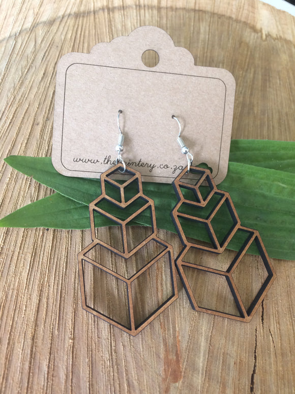 Stacked cubes hanging earrings