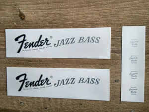 Fender 1968 to 1975 Silver Jazz Bass Decals - GreyTempest CustomShop
