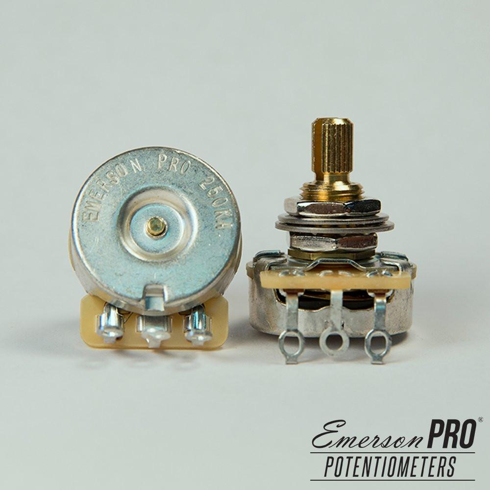 "250K-OHM EMERSON PRO CTS (AUDIO TAPER – 0.375"" SHORT SPLIT SHAFT) - GreyTempest CustomShop"