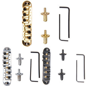 Brass Roller Locking Tune-O-Matic Bridge. Black/Chrome/Gold - GreyTempest CustomShop