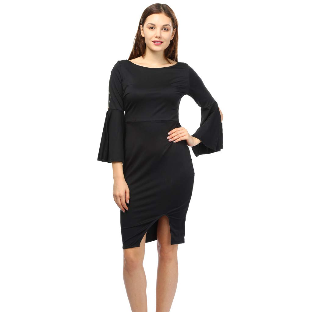iLUGU O-Neck Long Sleeve Mini Dress for Women Solid Color Pencil Dress Girls Long Sleeve Dress