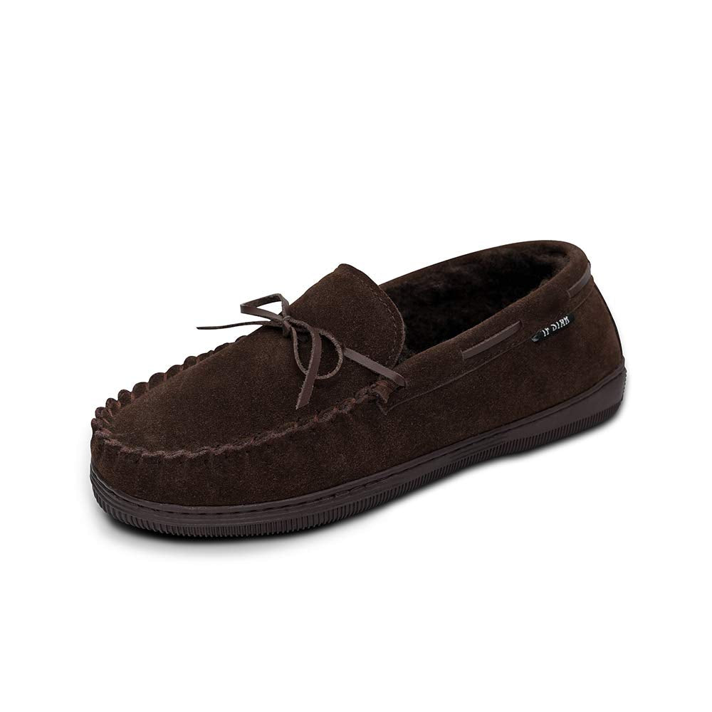 Men's Genuine Suede Leather Faux Fur Lined Moccasin Slippers,Classic Flat Slip On Indoor Outdoor Moccasins for Men
