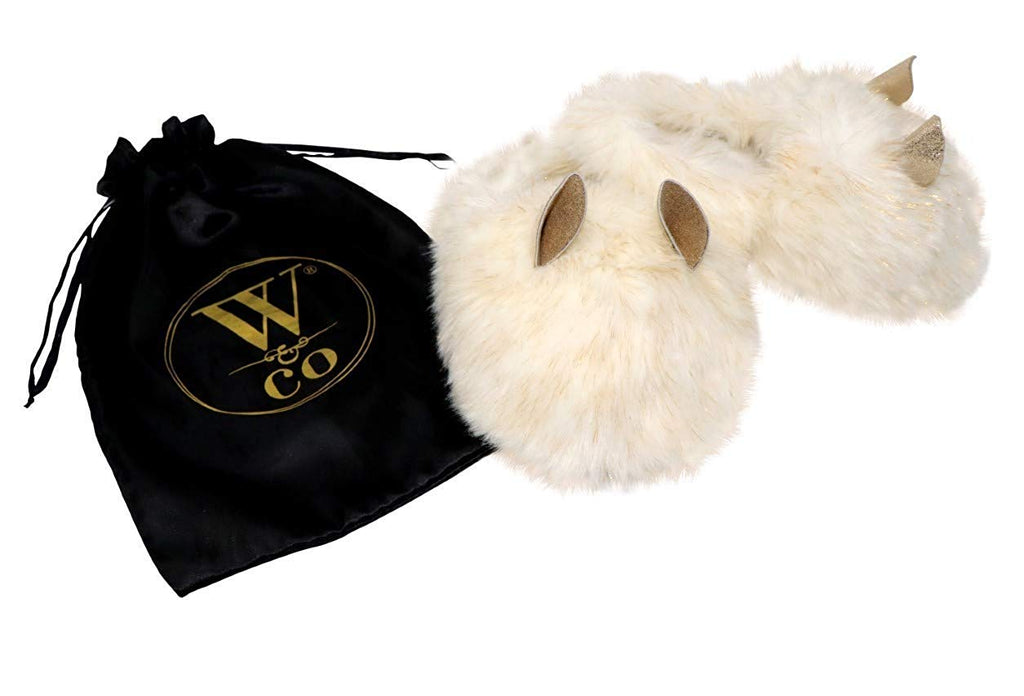 Win&Co Furry Fuzzy Fluffy Faux Fur Slippers Cream Gold with Ears
