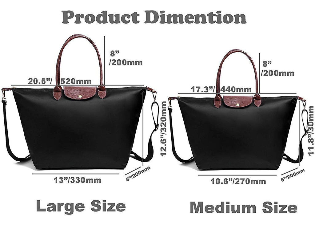 BEKILOLE Women's Stylish Waterproof Tote Bag Nylon Travel Shoulder Beach Bags