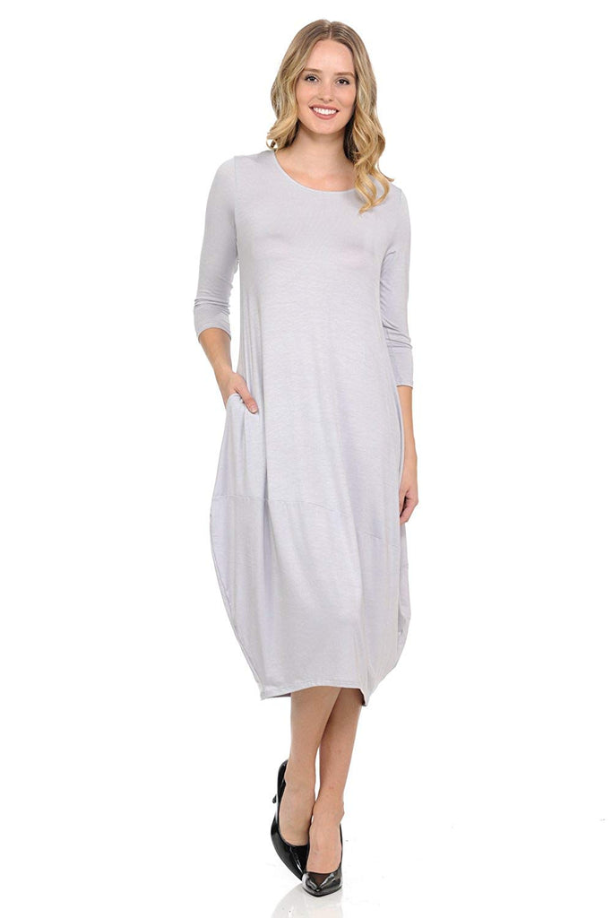 Pastel by Vivienne Women's Cocoon Midi Dress with Pocket - Made in USA (20+ Colors)