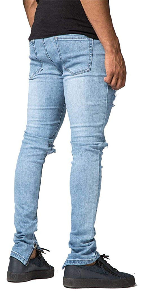 OKilr Pjik Men's Vintage Skinny Fit Destroyed Cotton Denim Jeans with Knee Open Rips