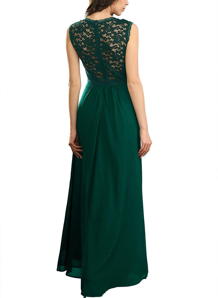 411d3eb9d23 Miusol Women's Casual Deep- V Neck Sleeveless Vintage Wedding Maxi Dress