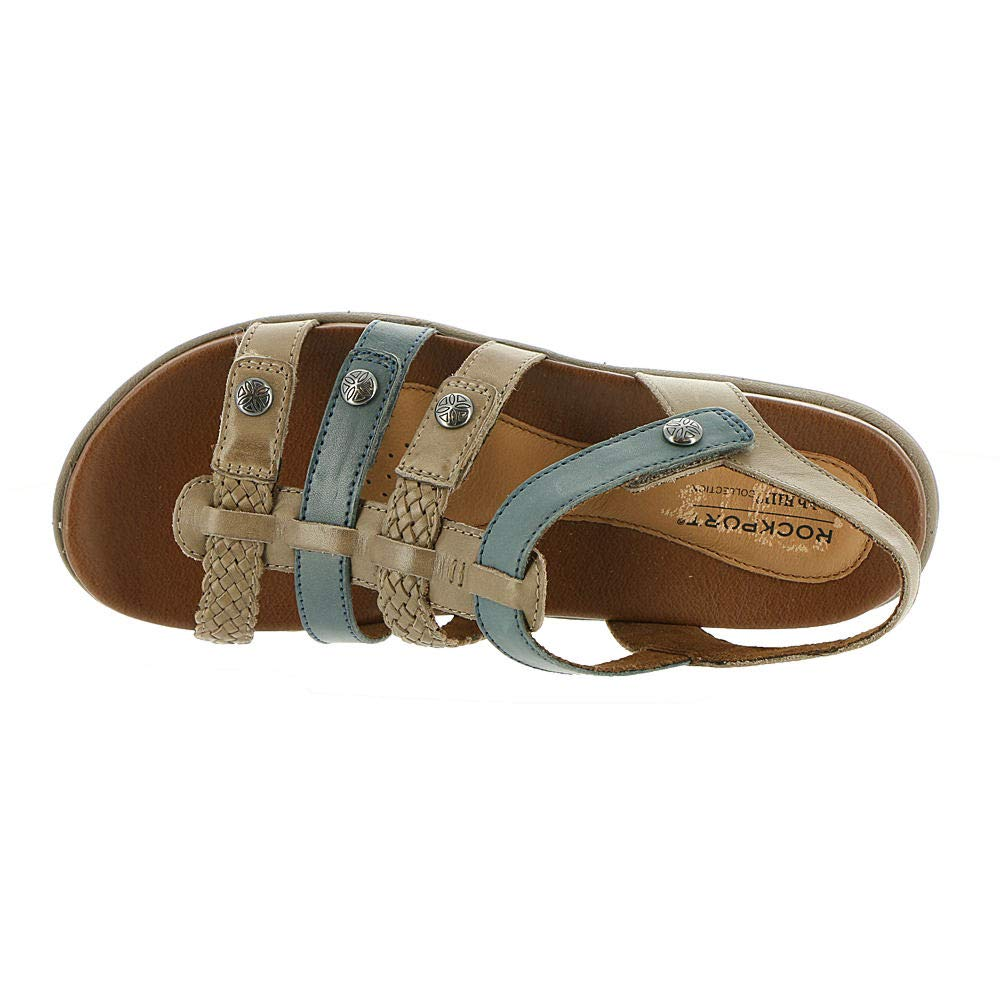 Cobb Hill Women's Rubey Tstrap Sandal, New Khaki Multi, 070 M US