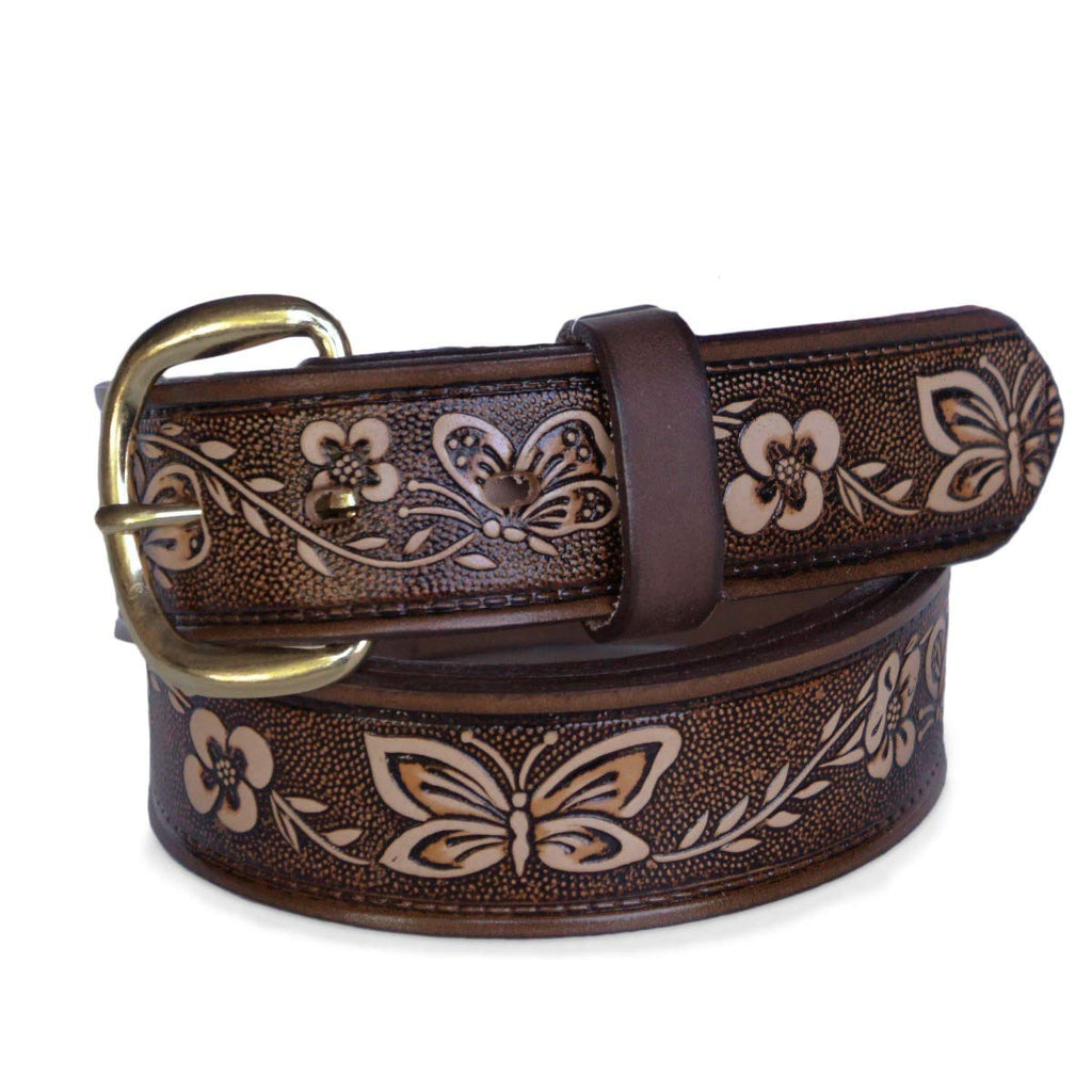 "R.G. BULLCO - USA Made - 1-1/2"" Full Grain Women's Leather Belt with Butterfly Embossed Finish & Chrome Buckle - RGB-5517"