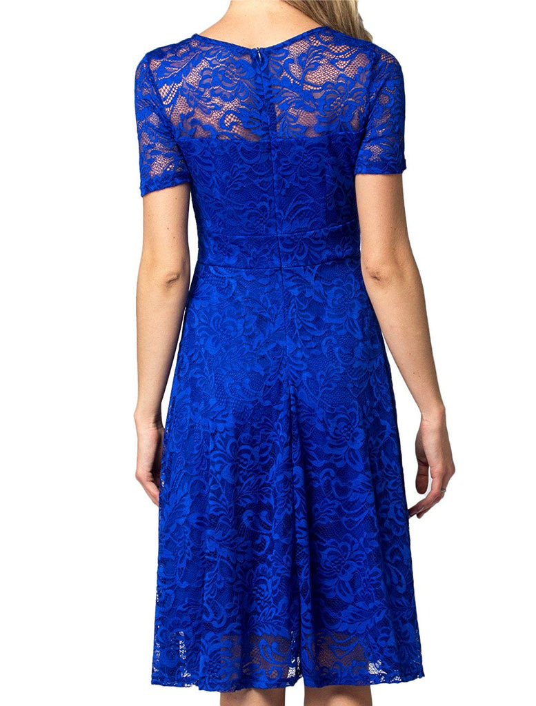 ac9a67e49e4f AONOUR Women's Vintage Floral Lace Elegant Cocktail Formal Swing Dress with  Short Sleeve