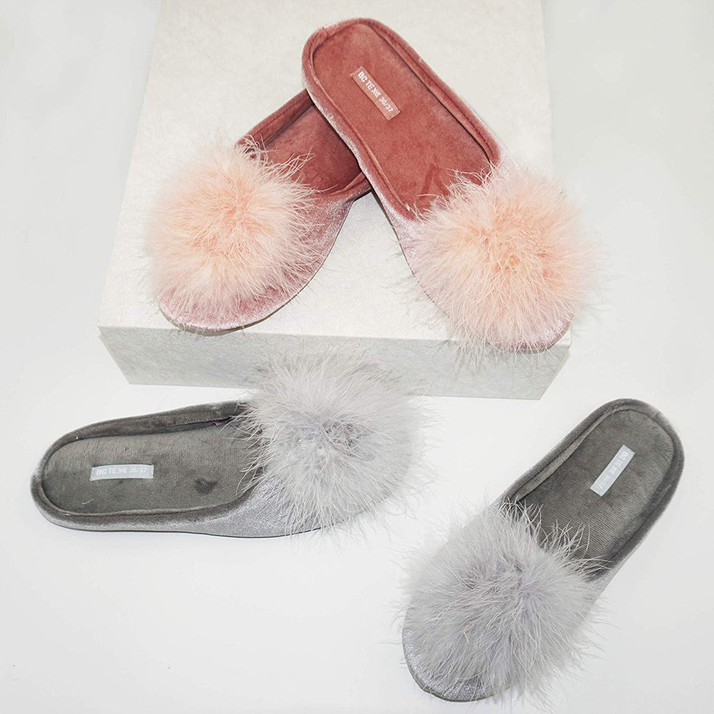 BCTEX COLL Women's Slippers, Feather Fluffy House Slippers for Women Ladies Pom Pom Memory Foam Velvet House Shoes with Rubber Sole Slip on Slip