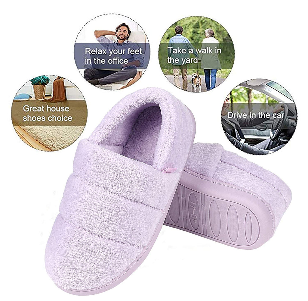 Women's Memory Foam Slippers Comfy Plush Velvet House Shoes Soft Indoor Outdoor Slip on Rubber Sole