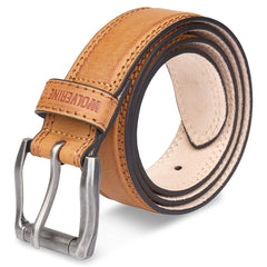Wolverine Men's Double Topstitched Leather Belt Roller Buckle w/Updated Buckle!