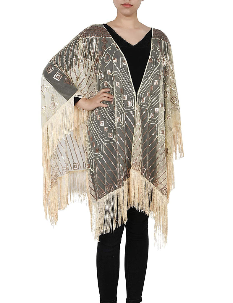 4bc8a2f3c PrettyGuide Women's Evening Wrap Beaded 1920s Shawl Fringed Oversized Cover  Up