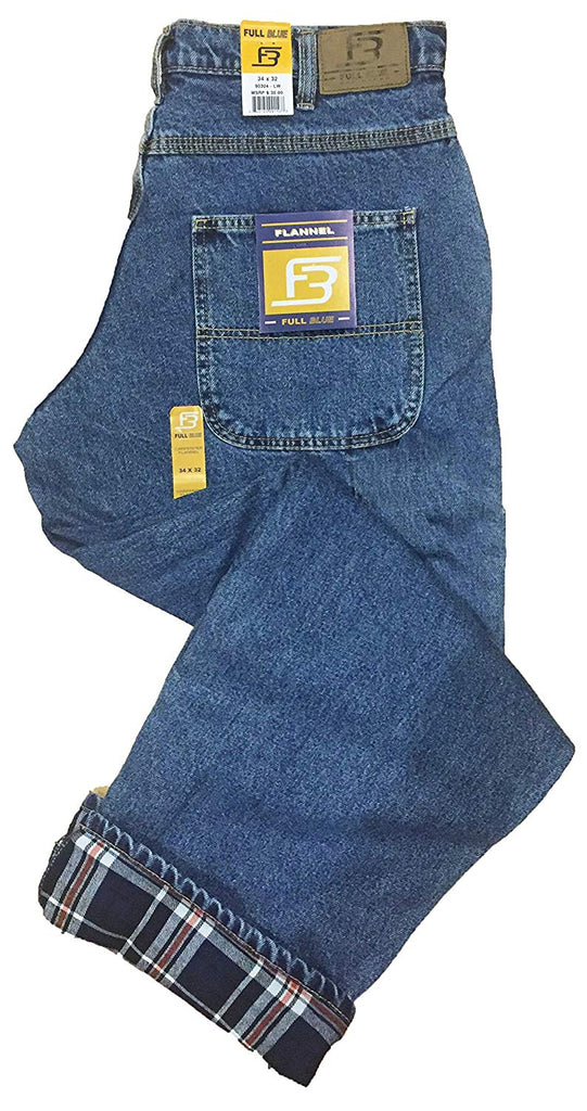 Full Blue Men's 5 Pocket Flannel Lined Jeans