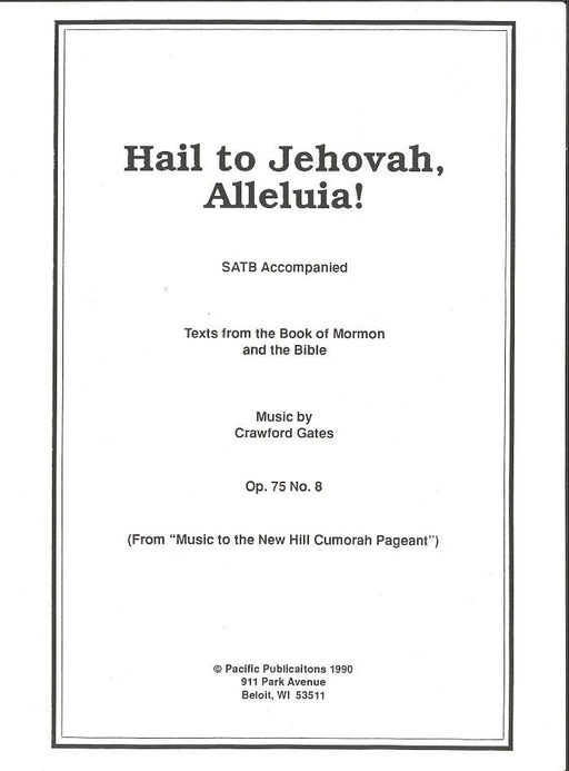 Hail to Jehovah Alleluia - SATB | Sheet Music | Jackman Music