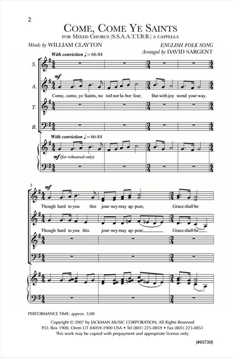 Come Come Ye Saints Ssaattbb | Sheet Music | Jackman Music