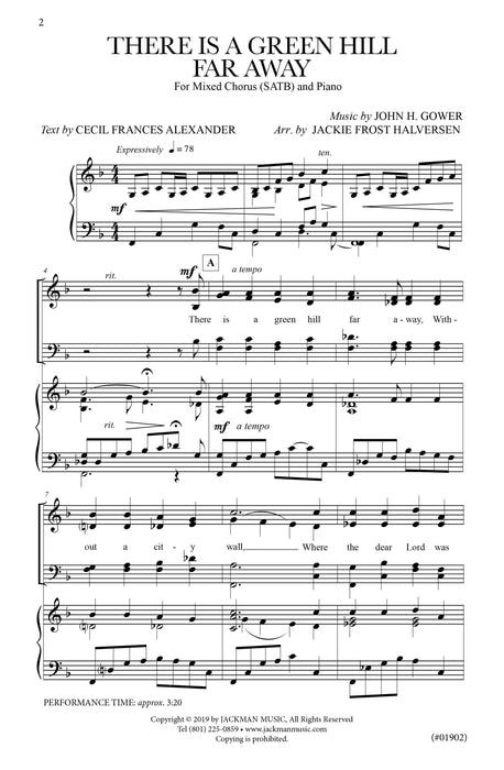 There Is a Green Hill Far Away - SATB | Jackman Music Sheet Music
