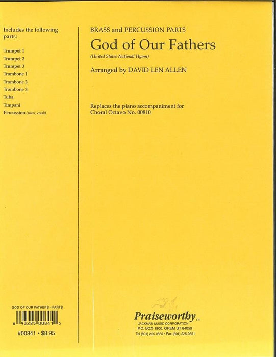 God of Our Fathers - Brass & Percussion Parts | Sheet Music | Jackman Music