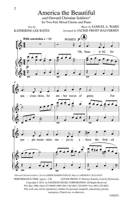 America The Beautiful Onward Christian Soldiers Two Part | Sheet Music | Jackman Music