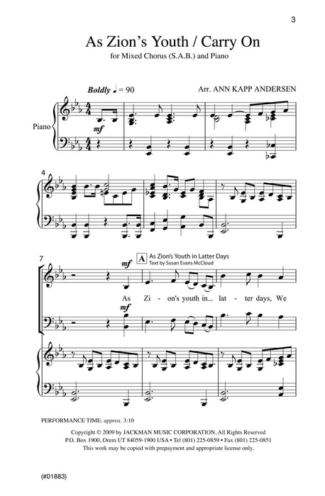 As Zions Youth In Latter Days Carry On Sab | Sheet Music | Jackman Music
