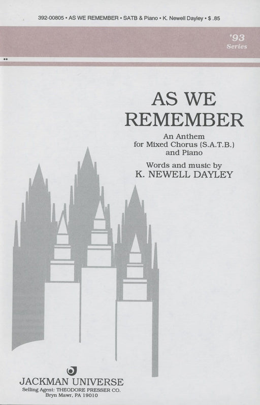 As We Remember - SATB | Sheet Music | Jackman Music