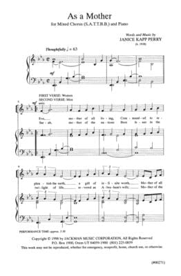 As A Mother Sattbb | Sheet Music | Jackman Music