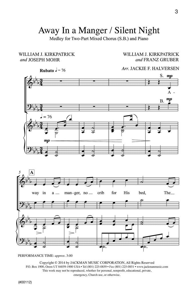 Manger Medley (Cradle Song/Away in a Manger/Silent Night) - Piano Accompaniment