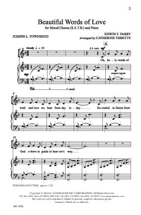Beautiful Words Of Love Satb | Sheet Music | Jackman Music