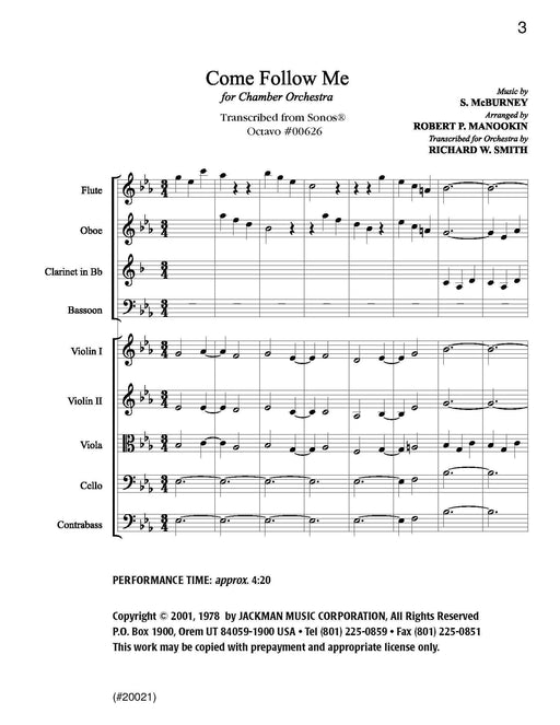 Come Follow Me -  Chamber Orchestra | Sheet Music | Jackman Music
