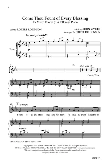 Come Thou Fount of Every Blessing - SATB - Jorgensen