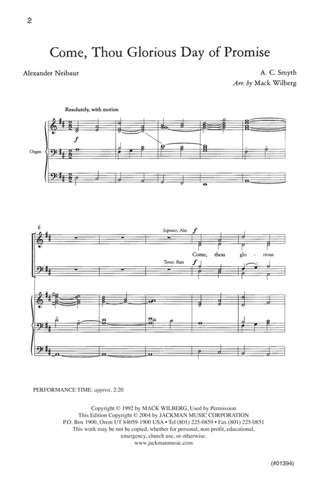 Come Thou Glorious Day Of Promise Satb | Sheet Music | Jackman Music