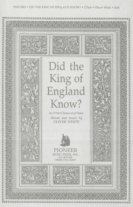 Did the King of England Know? - 2 Part | Sheet Music | Jackman Music
